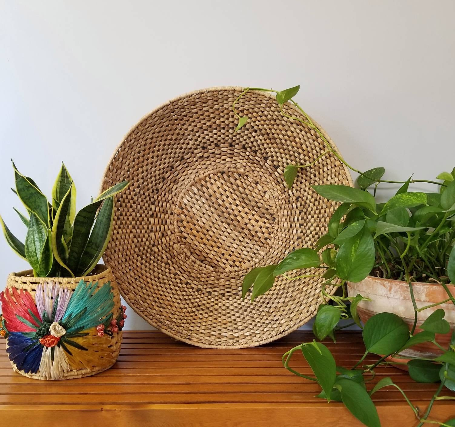 white  basket painted wicker basket 1 large ungo basket Bowl  Woven Bowl  African baskets Wall basket  bohemian home  Home Decor