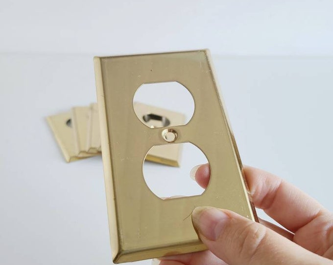 Vintage brass electrical outlet covers | plate covers | vintage hardware | set of 6 |