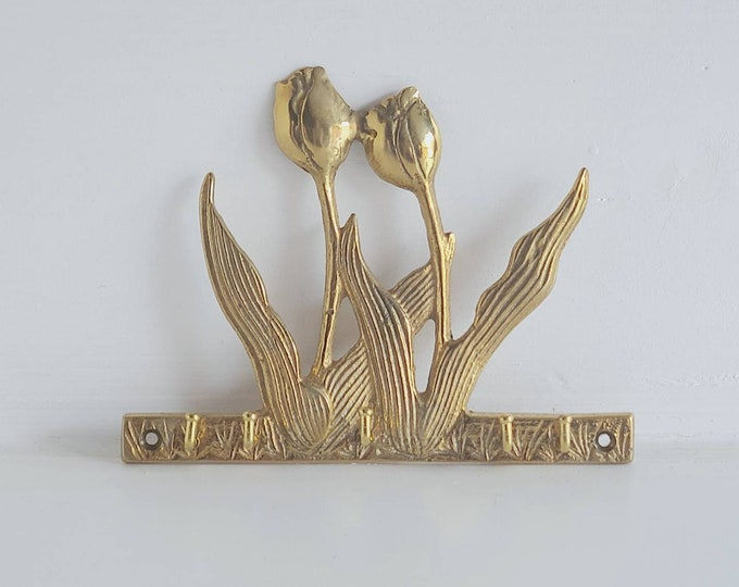 Vintage brass key hook | home organization | home storage | new old stock |