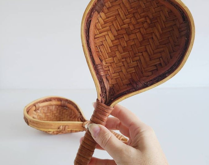 Vintage wicker scoop spoon pair | rice spoon | noodle ladle | bohemian decor | boho home decor |