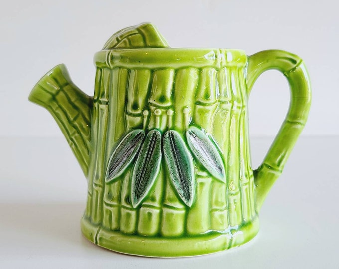 Vintage ceramic watering can made in Japan | green watering can | kitschy decor