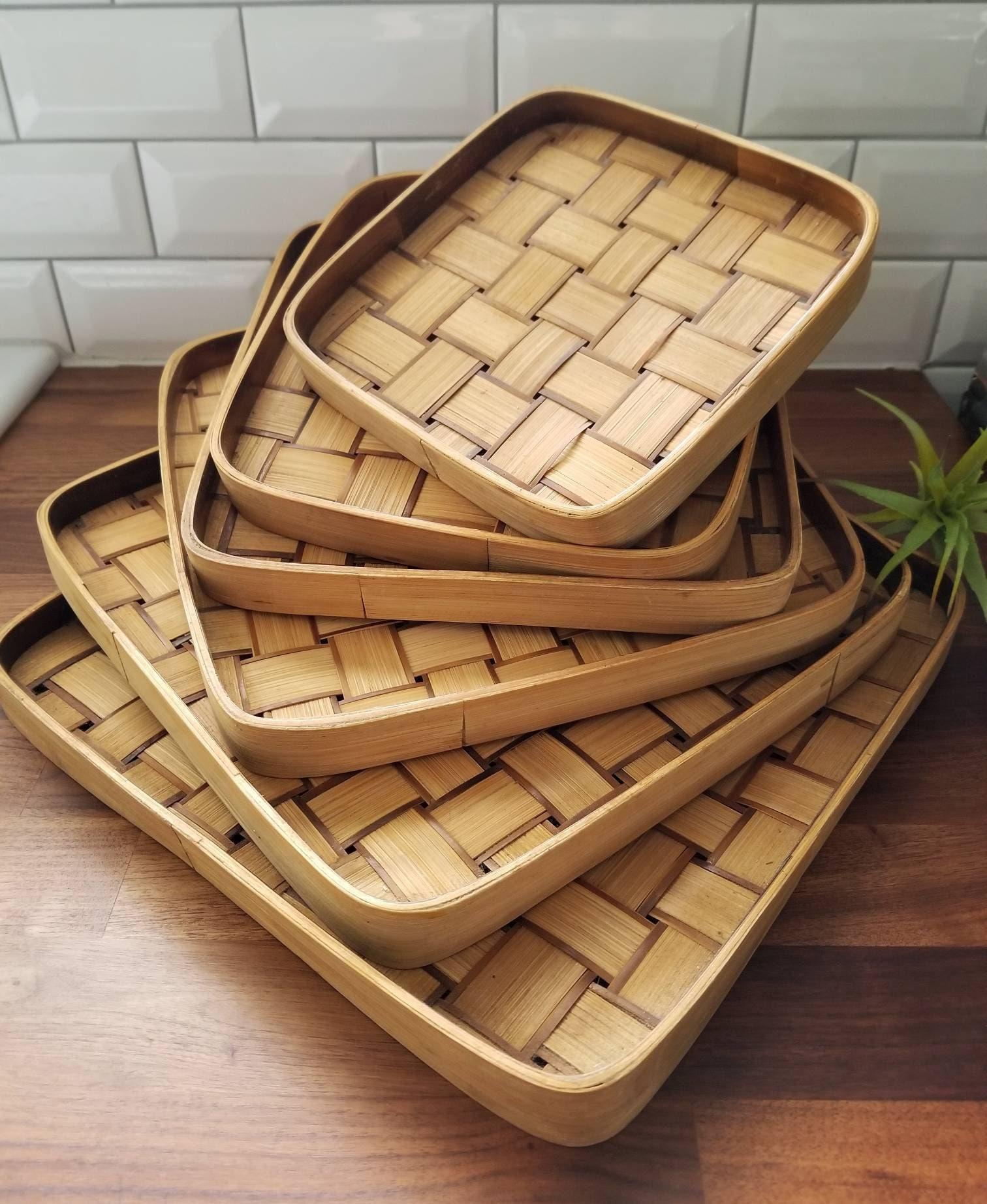 Vintage Bamboo Tray Set Basket Wall Set Rattan Serving Trays Bohemian Entertaining Outdoor Entertaining Platters Tray Decor
