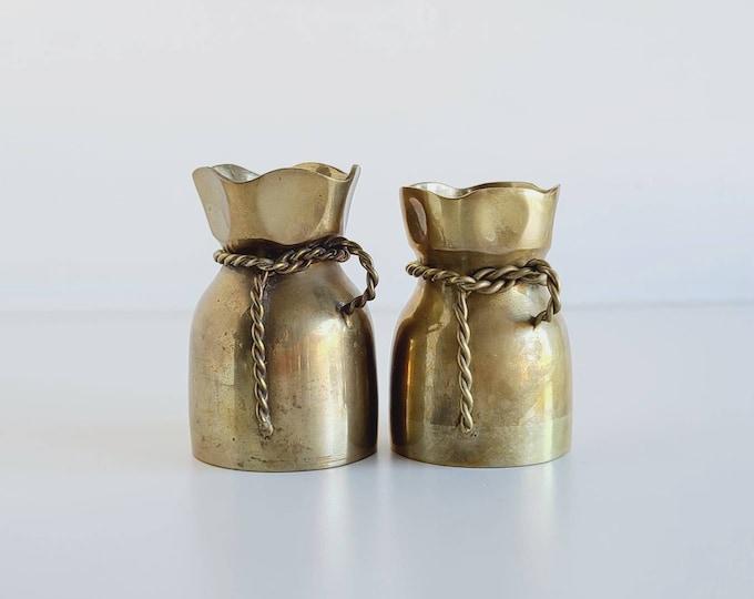 Vintage solid brass vase pair | brass sack | brass bag | bohemian decor | flower arrangement |
