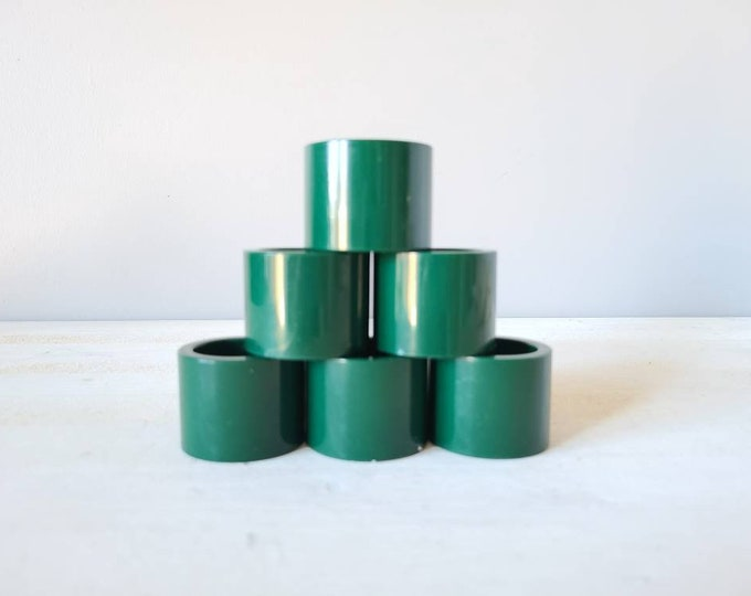 Vintage Vera Neumann napkin rings set of 6 | entertaining decor | hostess gift | holiday table setting | forest green |