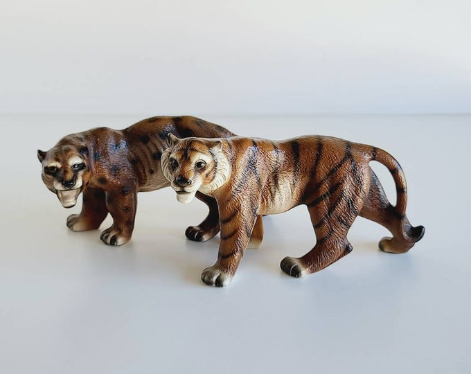 Vintage wild cats pair | tiger and leopard figurines | jungle theme | kitschy fun decor |
