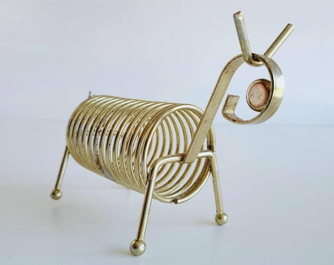 Vintage brass animal memo holder | coiled receipt holder | home office decor | postcard holder | back to school |