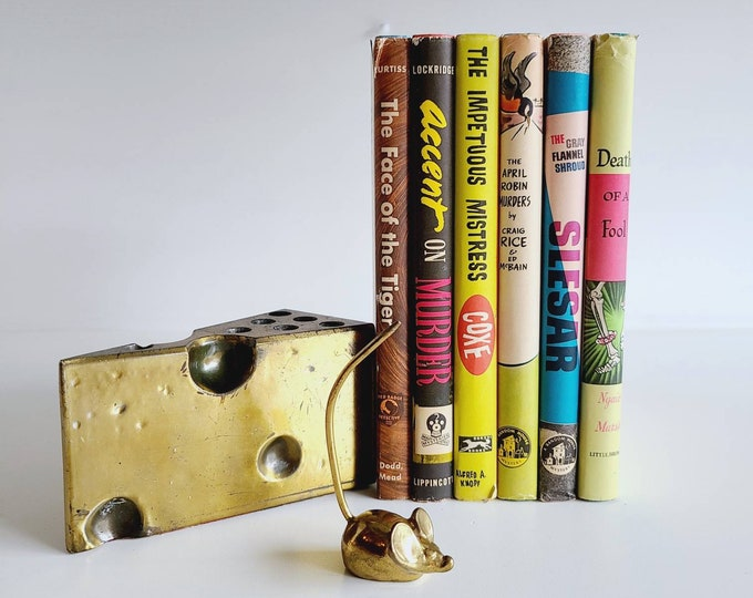 Vintage set of 6 colorful murder mystery books | decorative book collection | decor | vintage library |