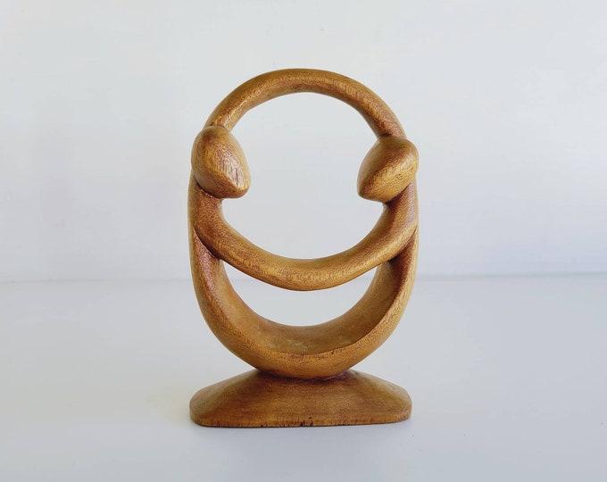 Mid century modern carved wood couple | figure modernist sculpture | wooden figure | figurine |