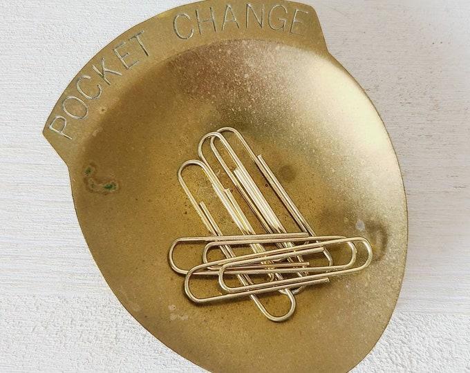 Vintage brass pocket change dish | trinket dish | coin holder |