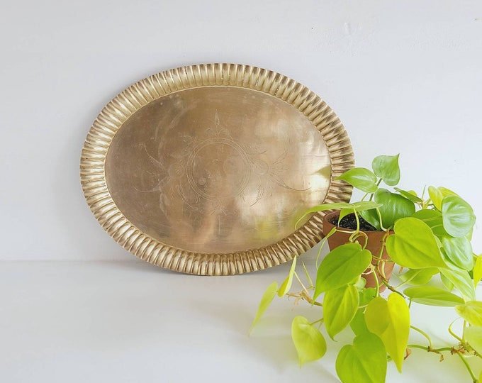 Vintage brass serving tray | etched brass platter | holiday table |