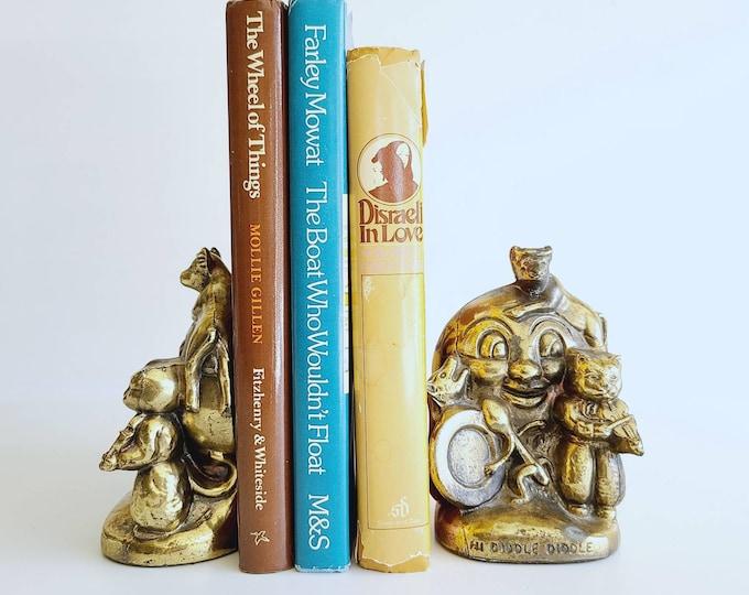 Vintage brass nursery rhyme bookends | hey diddle diddle | library decor | nursery decor | kids room decor | brass animals |