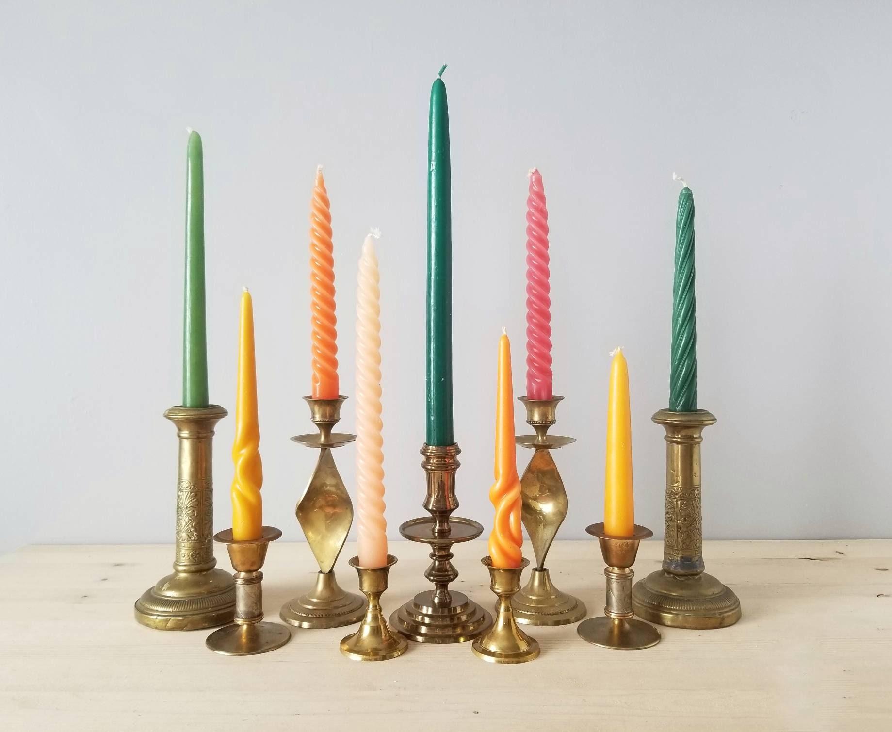 Vintage Brass Candle Stick Holders Candlestick Holder Set Wedding Decor