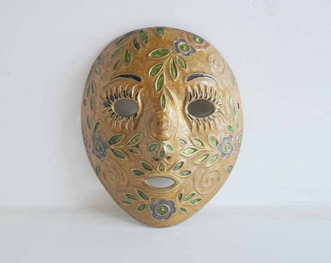 Vintage brass and enamel mask  | wall decor | bohemian decor |