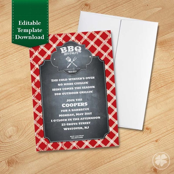 bbq invite summer cookout backyard bbq family reunion etsy