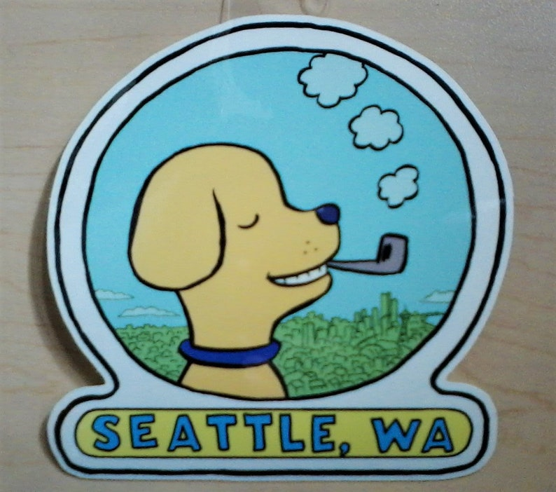 Dog with Pipe Seattle sticker image 0
