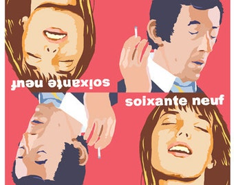 Soixante Neuf cover giclee print of Serge Gainsbourg and Jane Birkin by David Lasky