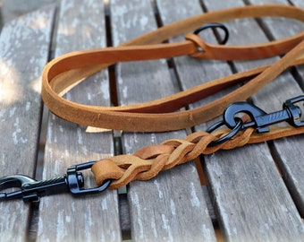 Leather leash with BLACK snap hooks 2 varieties in 10 colours, oiled leather dog leash braided