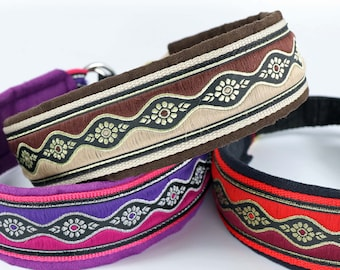 Dog collar WAVE, six different colors and two widths, Dog collar, Martingale with Jacquard trim