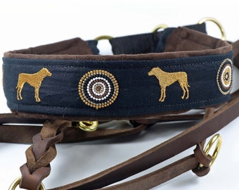 """Dog collar """"Rhodesian Ridgeback"""" embroidered with 2 standing dogs and ornaments, martingale"""