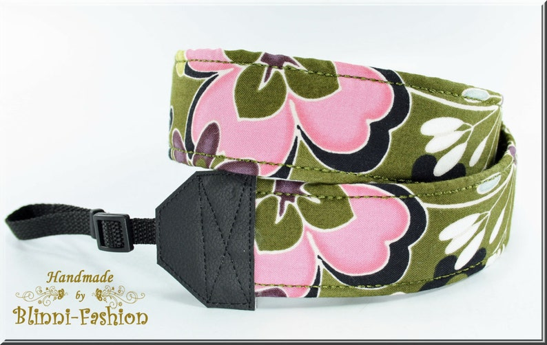 Camera strap olive flowers camerastrap  for DSLR or system camera
