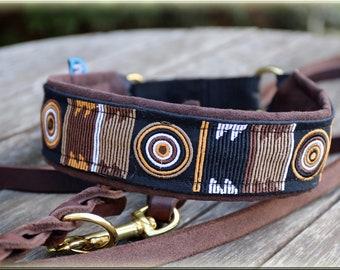 Dog collar MASSAI, Martingale,  embroidered for Rhodesian Ridgeback, africa