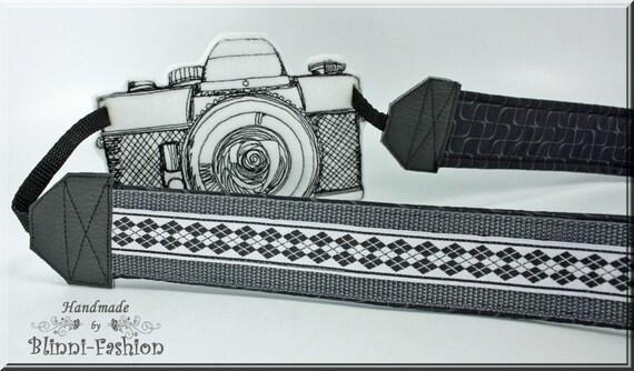 Courroie de l'appareil / argyl courroie pour appareil photo reflex, gris, noir, blanc