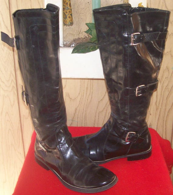 cf7939b4ced63 women's vintage 1980's -90's patent leather buckle combat, military goth  biker knee high boots