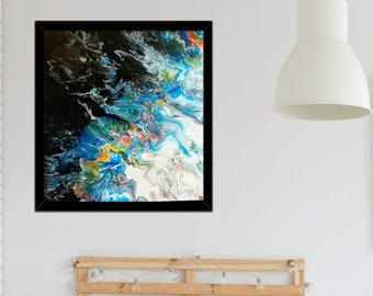 Midnight River: 20x20, Canvas painting, original art, Dutch pour, contemporary, abstract, wall art, vibrant
