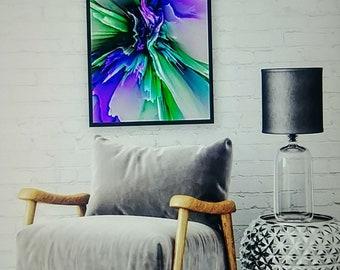 PURPLE FLASH Giclee Art Print Contemporary Abstract Digital Wall Art Decor Office