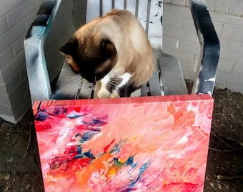 PATH UNKNOWN 20x20 Art with cute cat,  Acrylics, Canvas painting, , contemporary abstract, modern art, wall art, original art