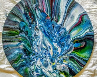 Lone Marble: 16 inch round canvas, acrylics, pour painting, contemporary abstract, modern, original art