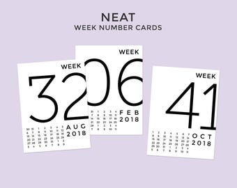 2018 Neat Week Number Cards • Digital • Journaling Card Printable. Perfect for Project Life