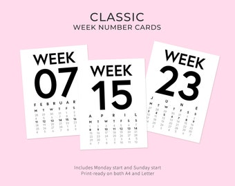 2019 Classic Week Number Cards • Digital • Journaling Card Printable. Perfect for Project Life