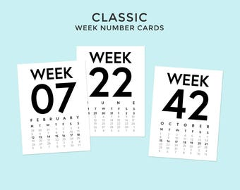 2018 Classic Week Number Cards • Digital • Journaling Card Printable. Perfect for Project Life