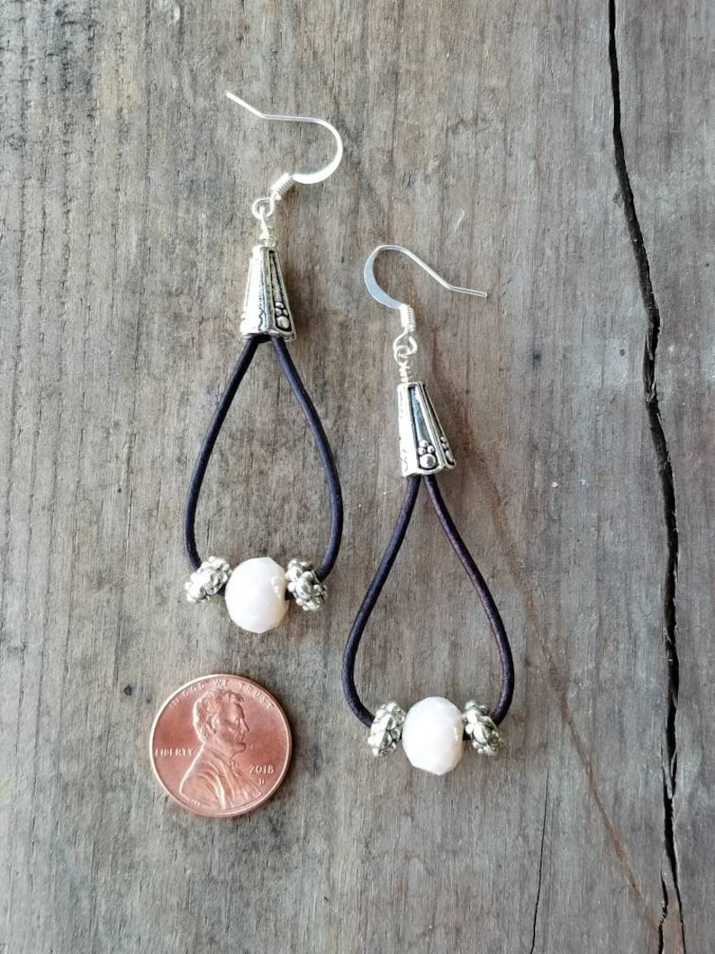 925 Silver Leather Earrings with Black Real Leather Cord and 925 S Beads Dangle