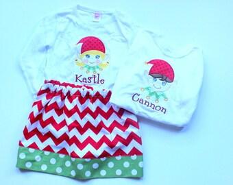 matching christmas outfit sibling christmas outfit matching brother and sister chevron christmas skirt set girl christmas elf shirt toddler