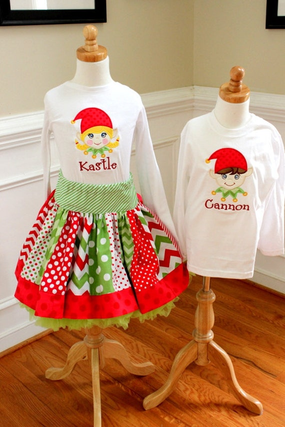 image 0 - Matching Brother And Sister Christmas Outfits Sibling Elf Etsy