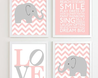 Baby Girl Nursery Art Chevron Elephant Nursery Prints, Kids Wall Art Baby Girls Room Baby Nursery Decor Playroom Rules Quote Art
