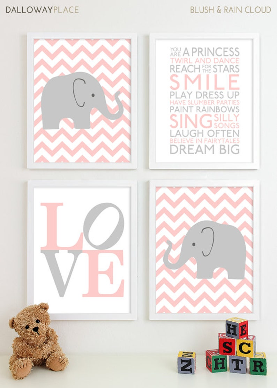 Baby Mädchen Kinderzimmer Kunst Chevron Elefant Kinderzimmer | Etsy