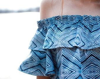 bbc7987a2a6e Indigo Sateen Print Off The Shoulder Ruffle Crop Top