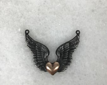Soldered Brass Pendant, Wings Necklace, Heart Jewelry, Handmade, Soldered Charm, Lead Free
