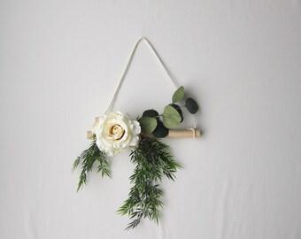 Farmhouse Wreath - Rose Wreath - Gallery Wall Decor - Housewarming Gift - Front Door Wreath - Natural Wreath - Modern Wreath