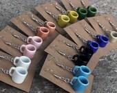 Coffee Mug Earrings - White, pink, orange, yellow, green, blue, black, brown, tan cup, teacup