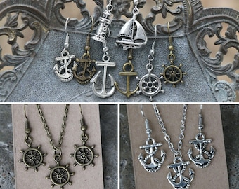 Nautical jewelry - necklace, earrings, or set of both - many styles