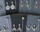 Bats, spiders- Earrings/chained ear cuff set- spider web, flying bat, hanging bat, jeweled spider, tarantula