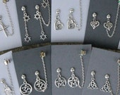 Symbols- Earrings/chained ear cuff set- Pentacle, triquetra, hamsa, cross, om