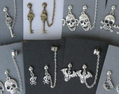 Skulls, etc- Earrings/chained ear cuff set- Fangs, Skull and crossbones, sugar skull, bat winged skull, skull with bow, skull key