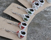 Filled Coffee Mug Earrings - Hearts, clovers, red and green polka dots, white, halloween, tea