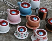 Creepy Tea Necklace -  Teacup with eyeball and blood - white, blue, pink, brown, halloween