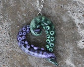 Tentacle heart - Pendant / necklace - Green and purple